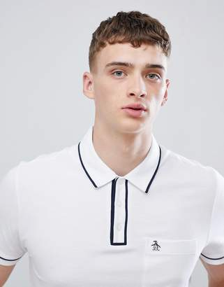 Original Penguin slim fit tipped pique polo with logo in white