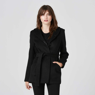 DSTLD Womens Button Wool Coat in Black