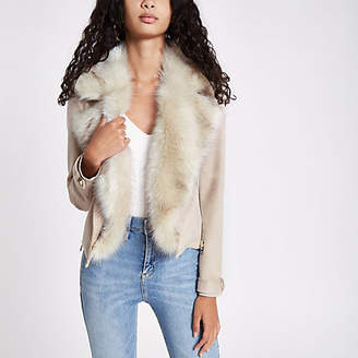 River Island Cream faux suede fur trim biker jacket