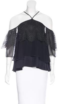 Cinq à Sept Lace-Trimmed Cold Shoulder Top w/ Tags