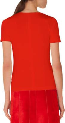 Akris Punto Round-Neck Short-Sleeve Tee w/ Eyelet Detail