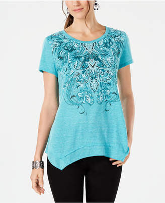 Style&Co. Style & Co Embellished Printed Handkerchief-Hem T-Shirt
