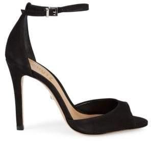 Schutz Classic Suede Ankle-Strap Sandals