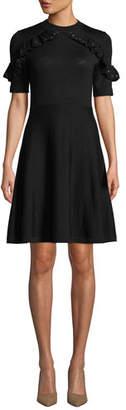 Kate Spade Studded Ruffle Sweater Dress