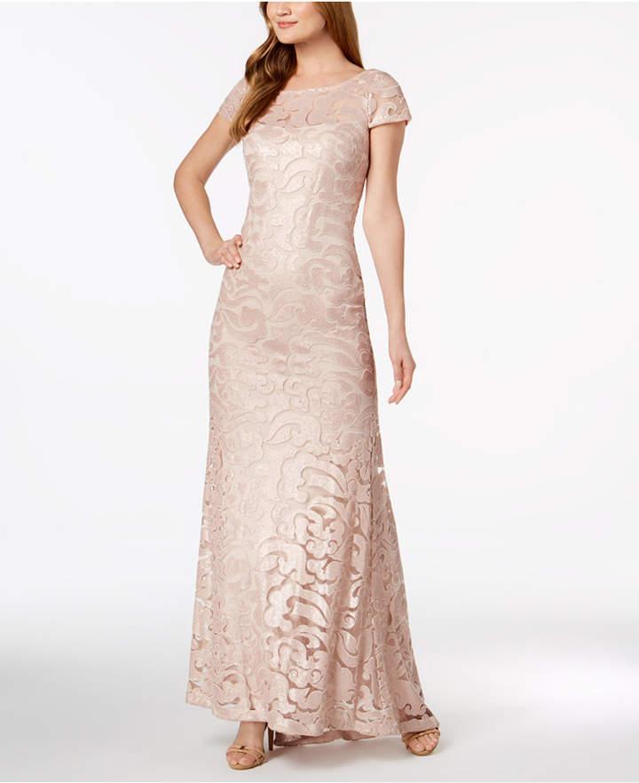 Calvin Klein V-Back Sequined Printed Dress