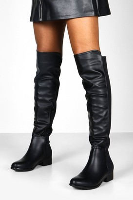 boohoo Lucia Elastic Back Over Knee Boots