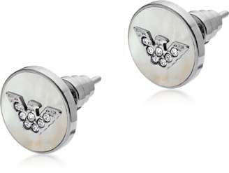 Emporio Armani Sterling Silver and Mother of Pearl Signature Women's Earrings