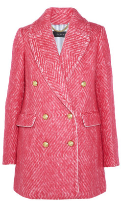J.Crew - Coco Double-breasted Tweed Coat - Bubblegum $400 thestylecure.com