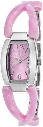 Clyda Women's Pink Acetate and Silver-Tone Steel Pink Dial