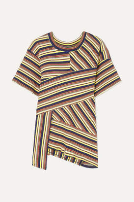 Marques Almeida Marques' Almeida - + 7 For All Mankind Asymmetric Striped Ribbed Cotton-jersey T-shirt - Pastel yellow