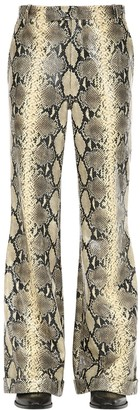 Gucci Flared Python Print Leather Pants
