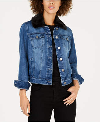 Style&Co. Style & Co Faux-Fur-Trim Denim Trucker Jacket