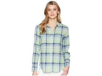 Chaps Plaid Linen-Cotton Shirt Women's Clothing