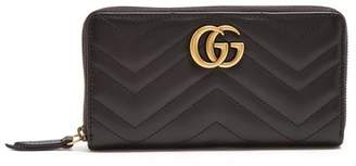 Gucci Gg Marmont Quilted Leather Wallet - Womens - Black