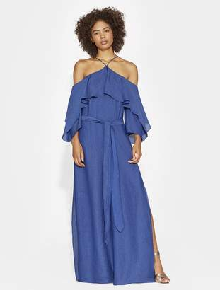Halston TEXTURED SATIN COLD SHOULDER GOWN
