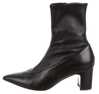 Valentino Leather Pointed-Toe Ankle Boots
