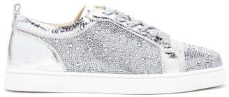 Christian Louboutin Louis Junior Crystal Embellished Trainers - Womens - Silver