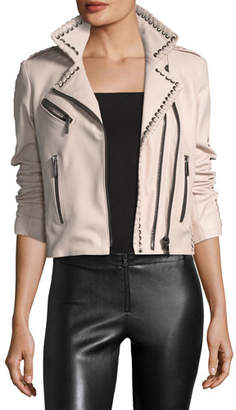 Moto Nour Hammour Vynil Whipstitch Leather Jacket