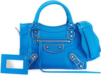 Balenciaga Metallic Mini City Leather Bag, Medium Blue