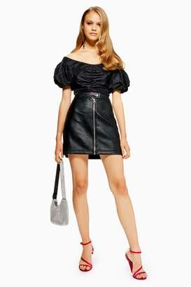 Topshop Leather Look Mini Skirt