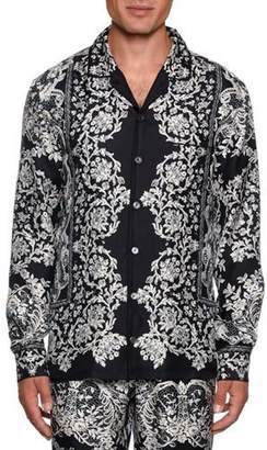 Dolce & Gabbana Men's Lace Print Silk Pajama Top