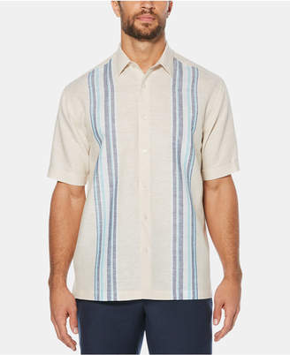 Cubavera Men Engineered Striped Panel Short-Sleeve Linen Shirt