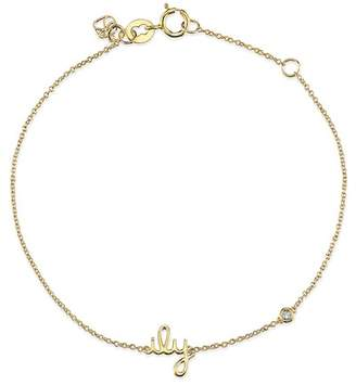 Sydney Evan Syd by 14K Yellow Gold Plated Sterling Silver Diamond 'ILY' Bracelet - 0.015 ctw