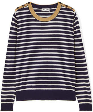 Paul & Joe Le Bosc Metallic Striped Cotton-blend Sweater - Navy
