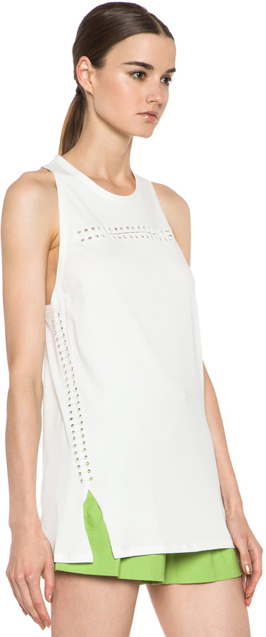 3.1 Phillip Lim Cotton Tank with Pin and Eyelet Embellishment in Antique White