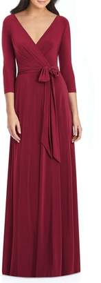Dessy Collection Jersey Tie Waist Gown