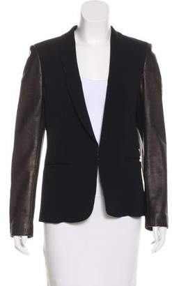 Rag & Bone Leather-Trimmed Shawl Collar Blazer