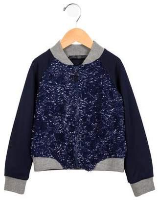 Miss Blumarine Girls' Sequined Zip Front Jacket