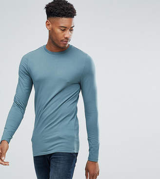 Asos Design DESIGN Tall muscle fit long sleeve t-shirt with crew neck in green