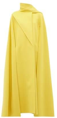 Valentino Draped Panel Wool Blend Cape Coat - Womens - Yellow