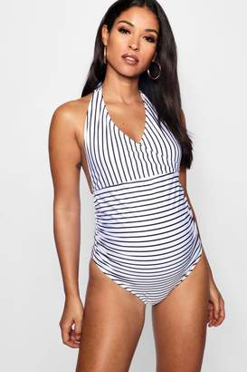 boohoo Maternity Stripe Wrap Front Swimsuit