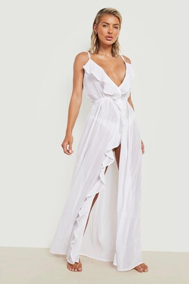 boohoo Frill Split Maxi Beach Dress