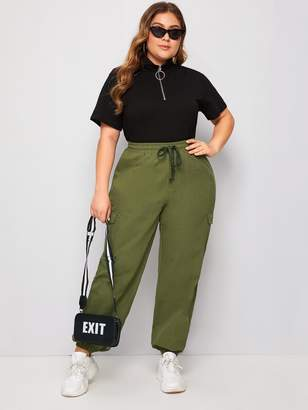 Shein Plus Pocket Side Drawstring Cargo Jeans