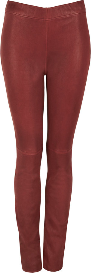 Joseph Burgundy Skinny Leather Trousers