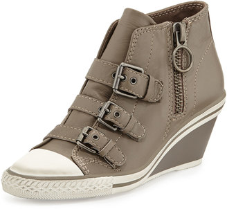 Ash Gin Bis Buckled Leather Wedge Sneaker, Perkish $159 thestylecure.com