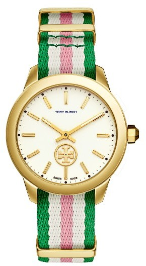 Tory Burch Women's Tory Burch Collins Grosgrain Strap Watch, 38Mm