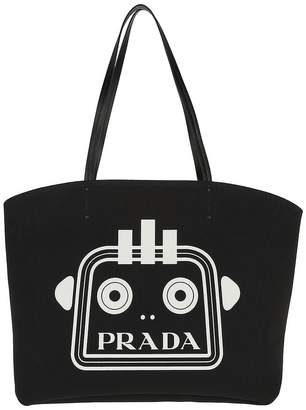 Prada Large Tote With Logo Canvas Black/Red