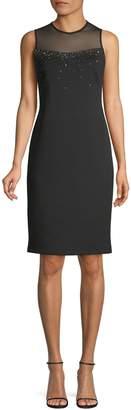 Calvin Klein Beaded Illusion Neck Shift Dress