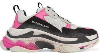 Balenciaga Triple S Mesh And Nubuck Sneakers - Bright pink