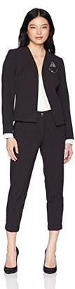 Tahari by Arthur S. Levine Women's Petite Open Front Collarless PIN Detail Striped Pant Suit