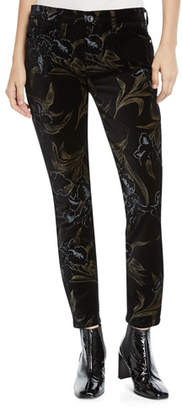 7 For All Mankind Jen7 by Metallic Floral Velvet Skinny Ankle Pants