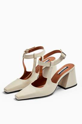 Topshop GARCIA Leather White Block Heels