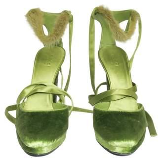 Gucci Vintage Green Velvet Sandals