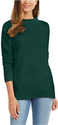 Karen Scott Cotton Mock-Neck Sweater