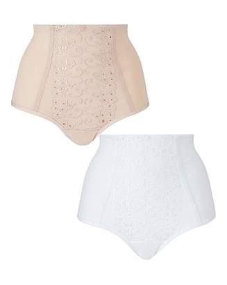 Naturally Close 2 Pack Rose Natural/White Control Briefs