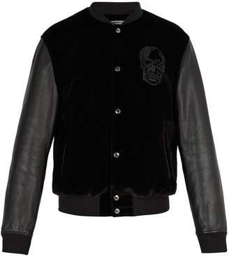 Alexander McQueen Velvet and leather bomber jacket